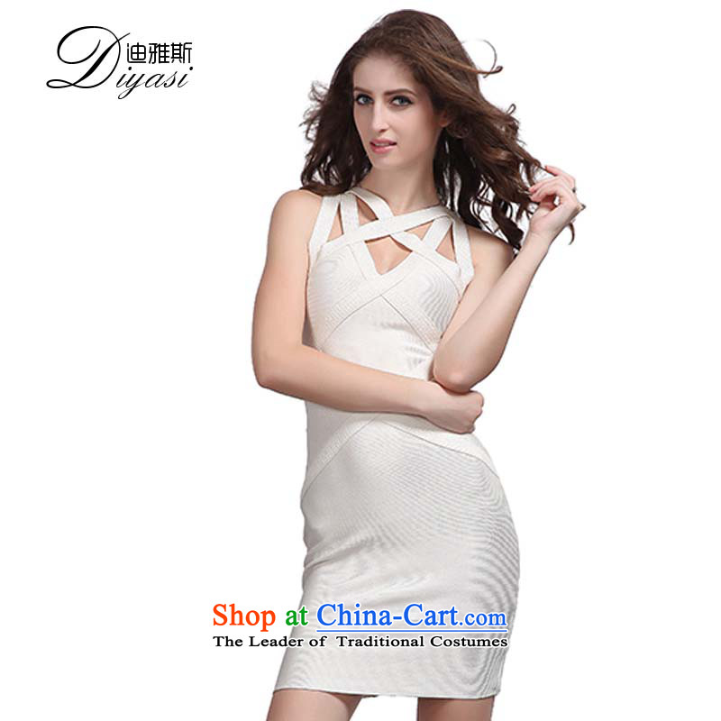 Hua Qi Avandia, western nightclubs and sexy stylish upmarket evening dress white engraving plastic body with a bandage and white?M Package