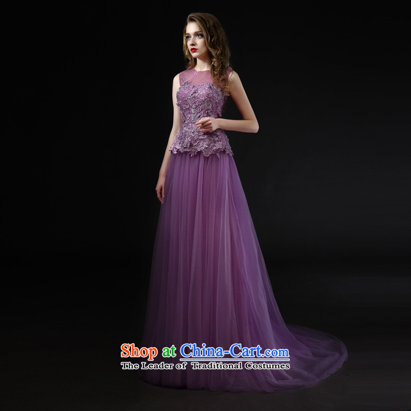 Mr model quality custom wedding?dresses 2015 new marriages evening dresses bows bridesmaid service upscale services purple dress dress?code banquet M