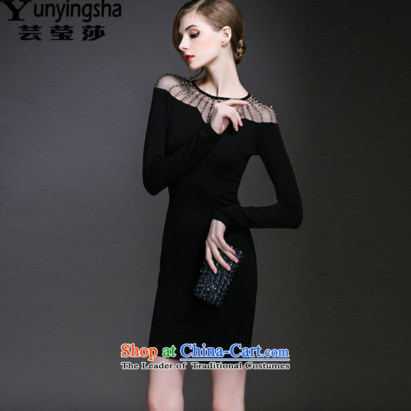 Yun-ying sa 2015 Spring and Autumn new long-sleeved Sau San, forming the dresses package and a black skirt step skirt dress skirt children LF9454 Black?XL