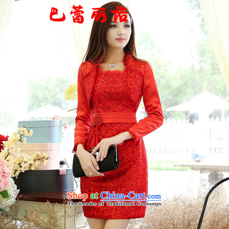 The buds of the spring and summer of 2015, Korean wedding services for pregnant women bows red dress back door to large Marriage Code bride Couture fashion redXL