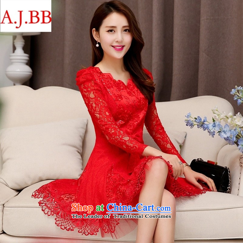 Orange Tysan * 2015 new bride in long-sleeved red long wedding dress marriage evening dress the lift mast to female red XL