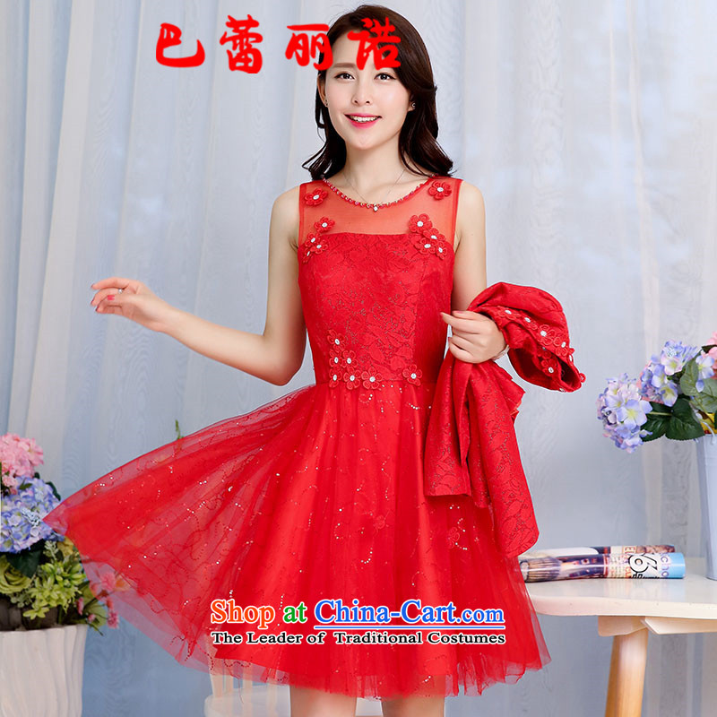 The buds of autumn 2015 installed, new bride red replace large red lace spell a series of dresses dress bows bridesmaid serving two kits red聽XXL
