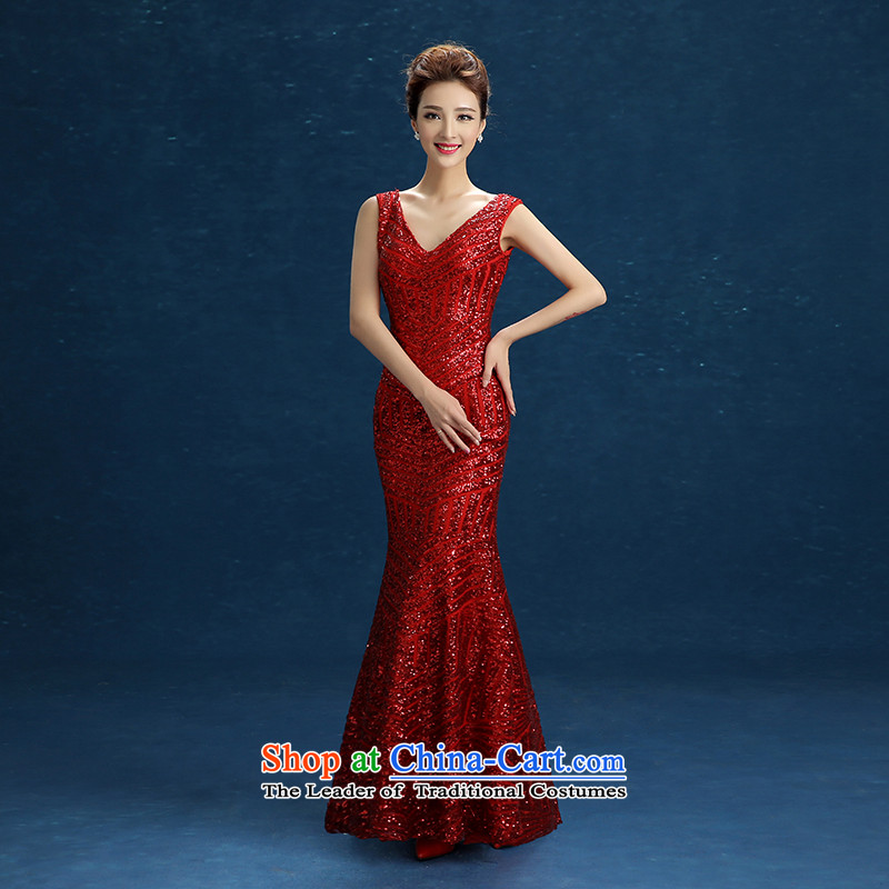 2015 new bows dress new stylish marriages in the summer and autumn on the shoulders of the Sau San red crowsfoot long chip) Stage moderator dress red?XL