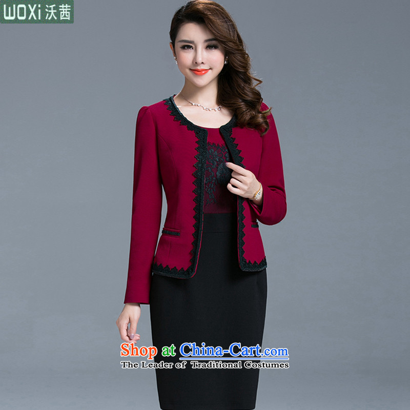 Kosovo?in the autumn and winter 2015 Mrs Rosanna Ure long load mother suits dresses two kits decorated in light suit long-sleeved sweater 1018 Red?XXL
