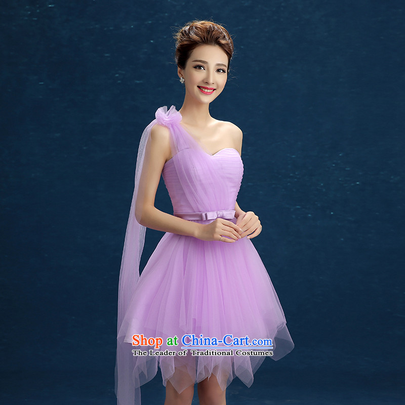 Bridesmaid Mission Dress Short single shoulder sister small dress dresses pink 2015 Spring/Summer new evening dress will light purple�S