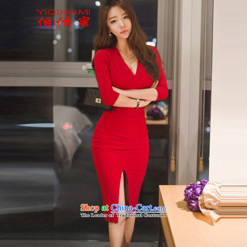 2015 Autumn honey temperament and sexy long-sleeved dresses temperament package and the beauty of the forklift truck and sexy female dress RED?M