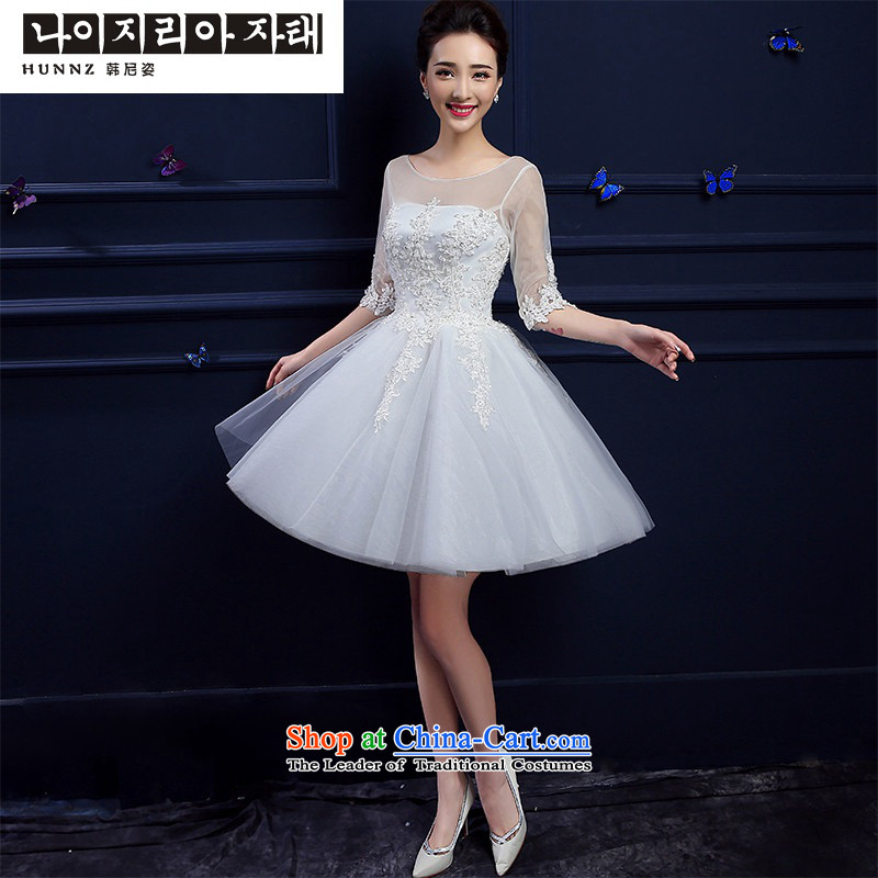 2015 new toasting champagne hannizi) in spring and summer cuff slotted shoulder stylish red short, banquet bride dress White?M