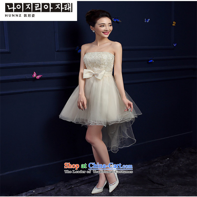 The new 2015 hannizi length of spring and summer stylish anointed chest dress banquet service bridal dresses bows champagne color聽S