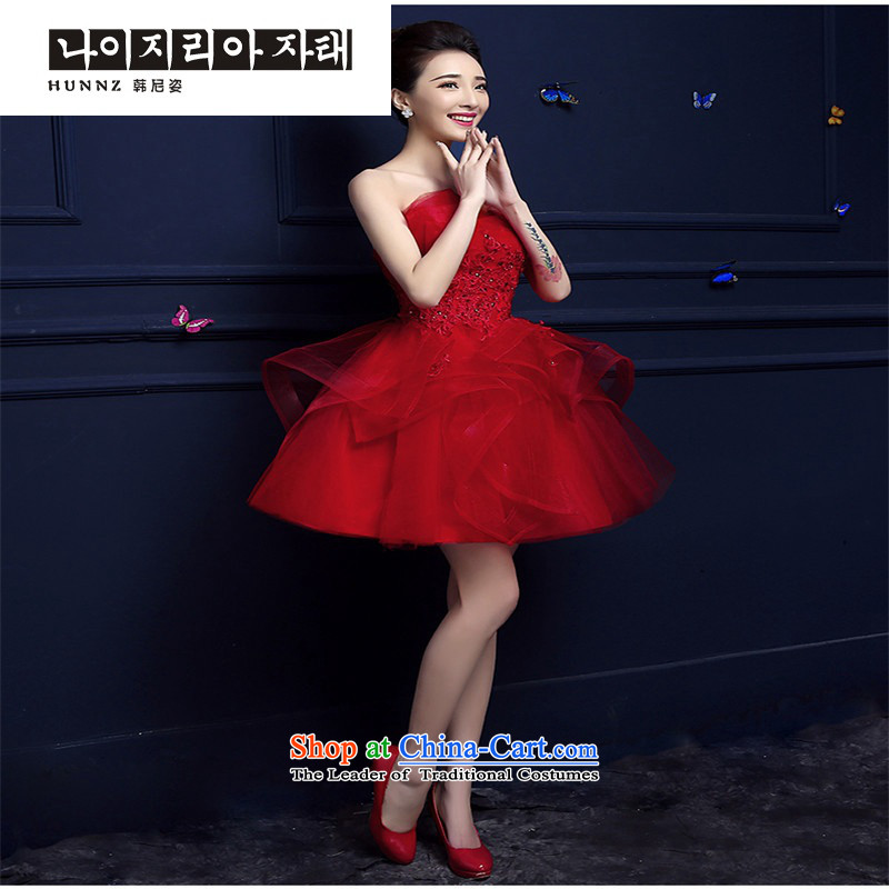 2015 new toasting champagne hannizi) spring and summer short of red and chest stylish banquet dress bridal dresses red�XL