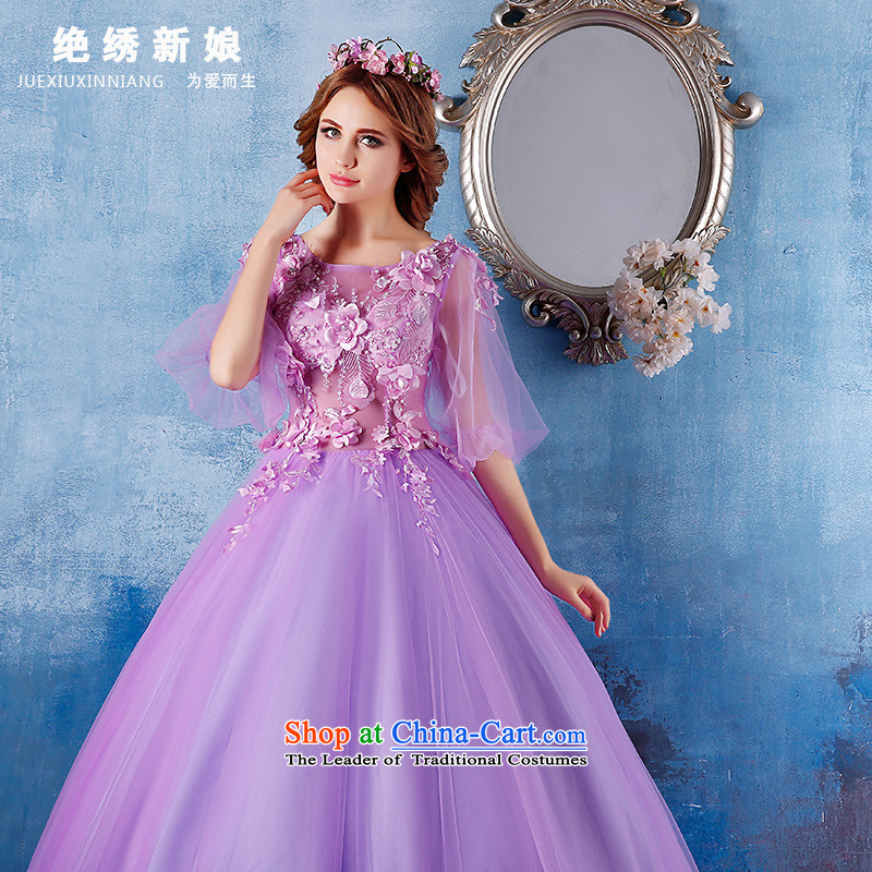 Summer 2015 New 2 large shoulder graphics thin bride banquet dinner dress photo building long concert services purple?M