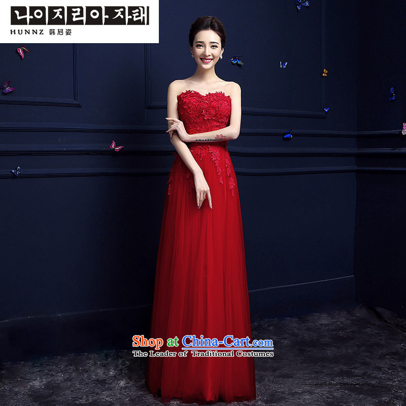 The spring and summer of 2015 New hannizi) red anointed long bride dresses chest banquet bows services evening dress red XL