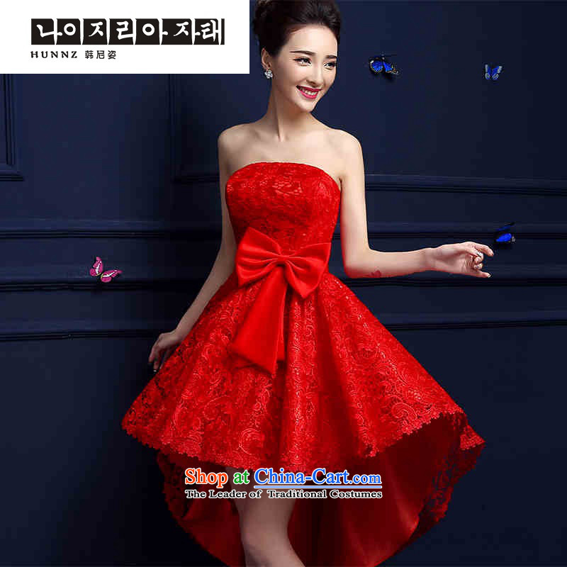 2015 new toasting champagne hannizi) before the spring and summer short long after the bride red dress banquet stylish evening dresses red�XL