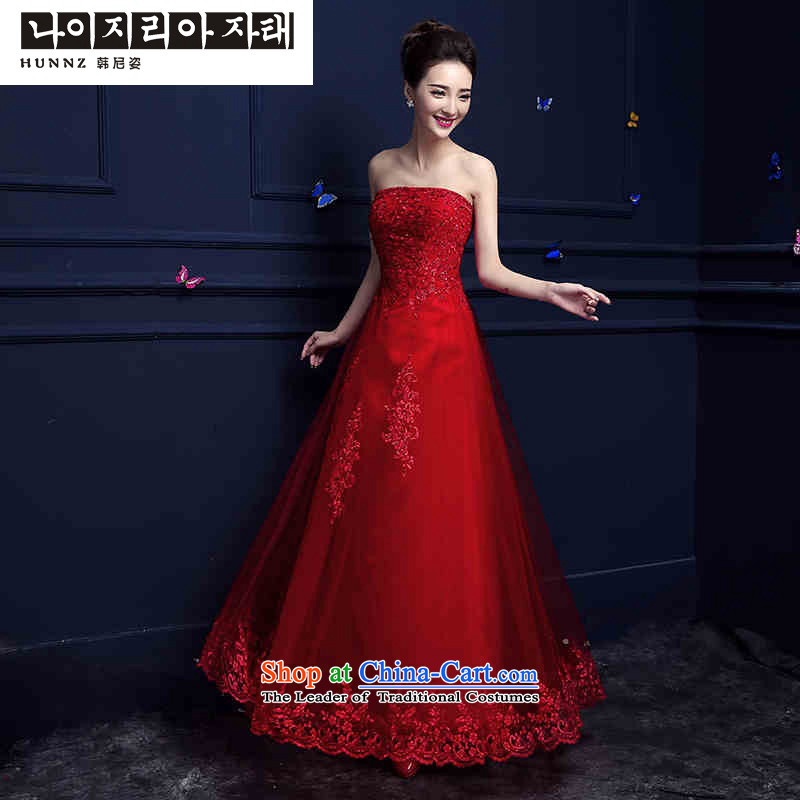 ? ?The new service hannizi bows 2015 Spring/Summer Long Chest anointed red stylish wedding dress banquet dress red?XXL