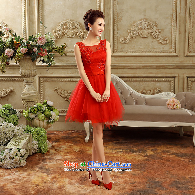 Talk to her�new 2015 marriages bows services bridesmaid small dress short skirts, evening dresses and sisters skirt large graphics thin Korean evening red�XL