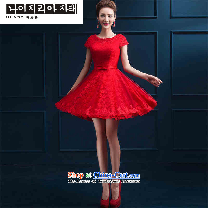 The new 2015 hannizi spring and summer stylish red dress bows service, bridal dresses banquet red?S