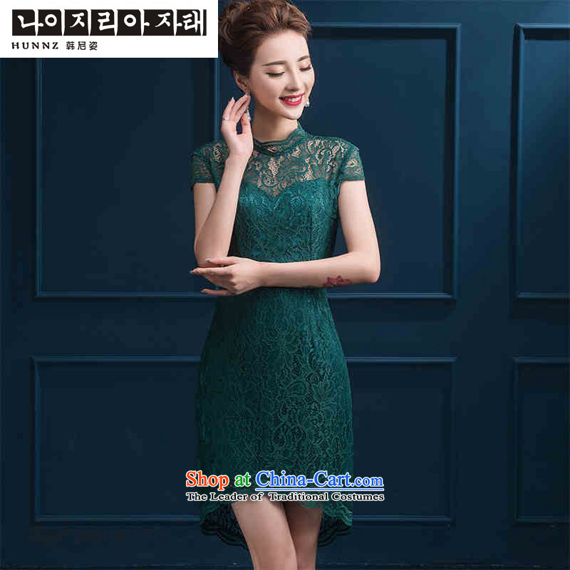 The spring and summer of 2015 New hannizi of Chinese Antique style dress short skirt bows service banquet bride dress green?M