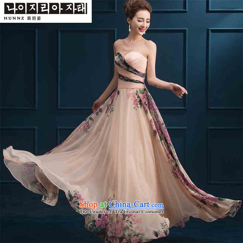 2015 new toasting champagne hannizi) spring and summer long skirt long summer services banquet dress bows bridal dresses and Long Chest�M