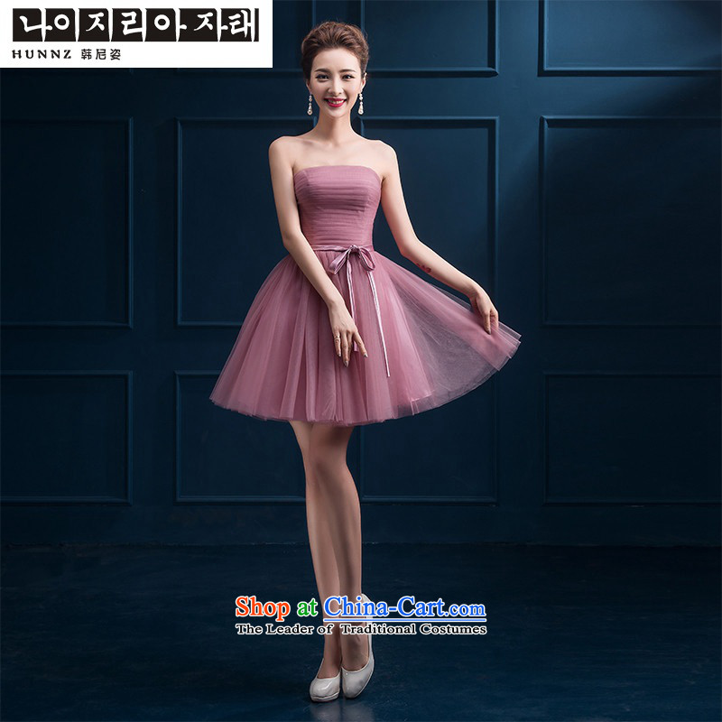 2015 new toasting champagne hannizi) bridesmaid mission short stylish small dress wiping the chest banquet dinner dress the usual zongzi color D?S