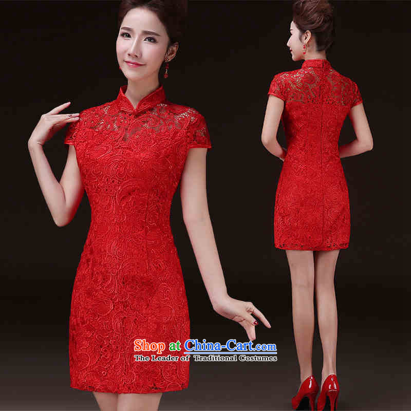 The spring and summer of 2015 New hannizi of Chinese Antique bridal dresses improved banquet dress Sau San bows services red?L