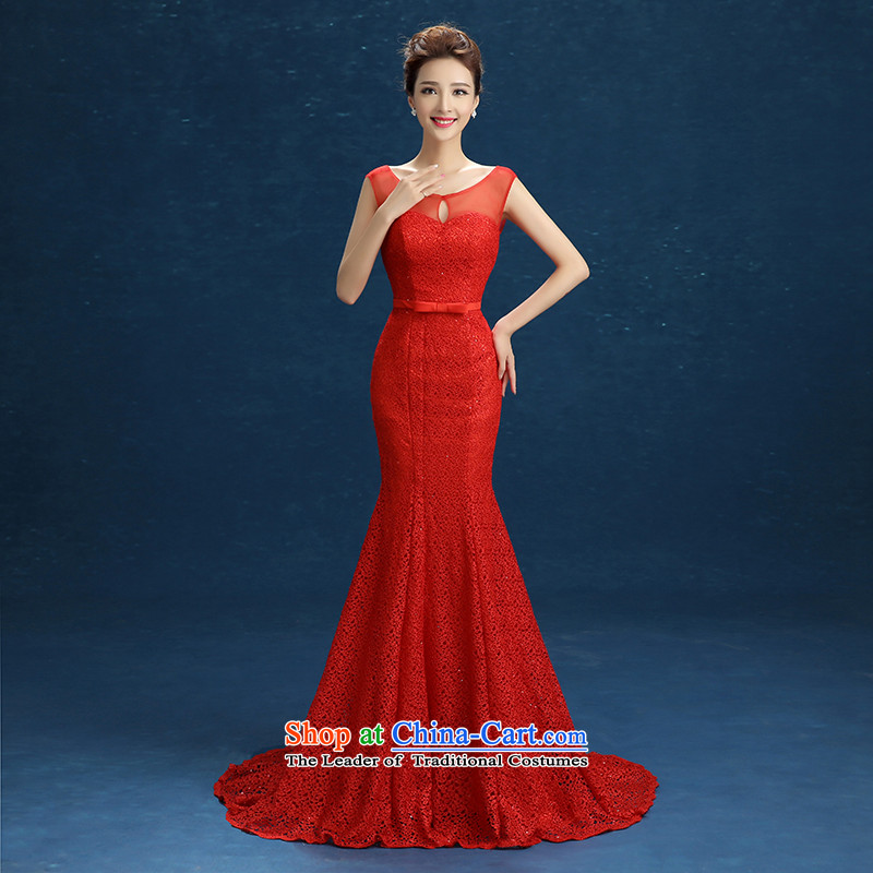 High-end wedding dresses red aristocratic dress bows services evening dress will serve under the auspices of the shoulders, round-neck collar V-Neck long tail crowsfoot RED?M