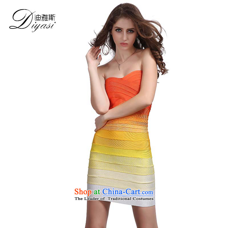 Hua Qi Avandia, new yellow gradient anointed chest bandages/sexy package and send to dress short skirt) gradient?M