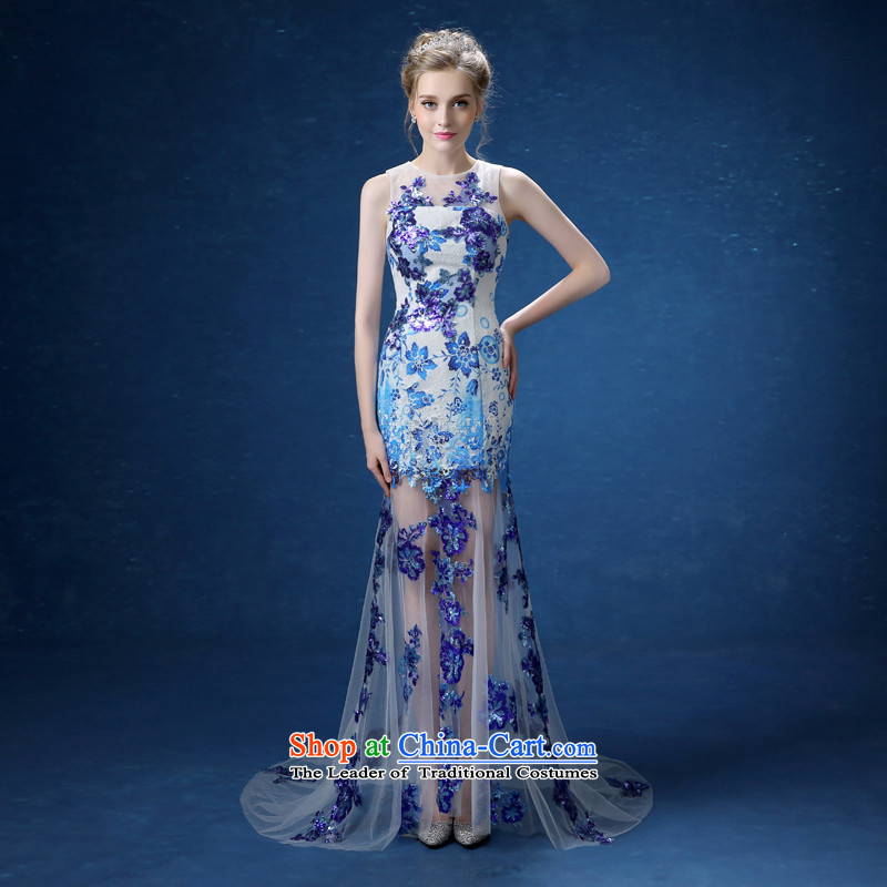 Every�2015 new retro Connie dress porcelain blue moderator dress bows dress blue blue porcelain�M