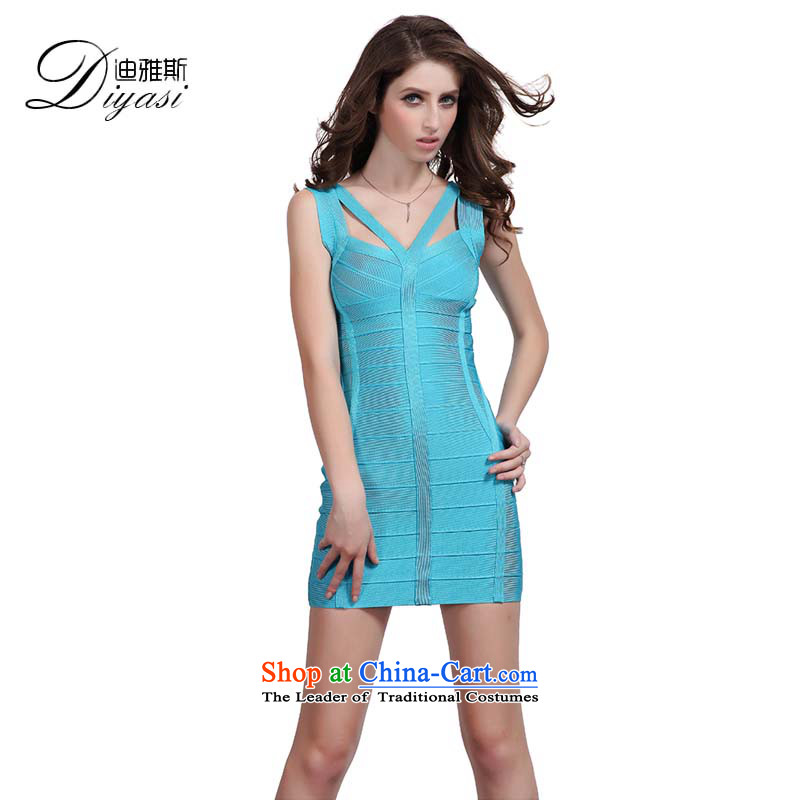 Hua Qi Avandia, blue sexy straps aristocratic short of meeting packages and forming the dress Sau San bandages dresses skyblue�L