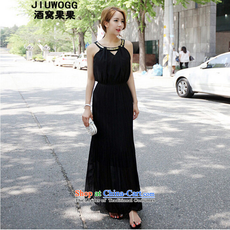 Dimple jelly?2015 new summer terrace shoulder-history and stylish dress suits long skirt?90 91?black?S