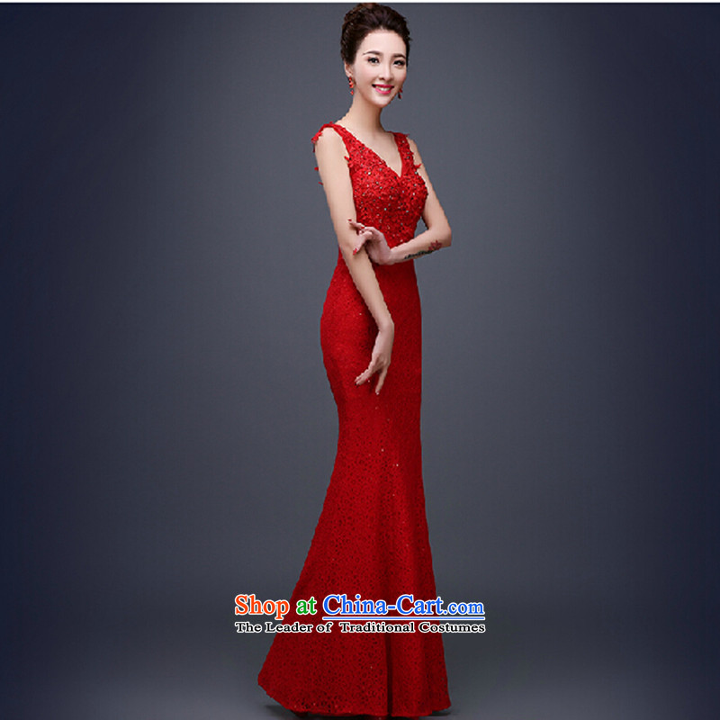 Love Su-lan 2015 new marriages bows Services Mr Ronald red long shoulders crowsfoot banquet evening dresses long skirt annual female RED M