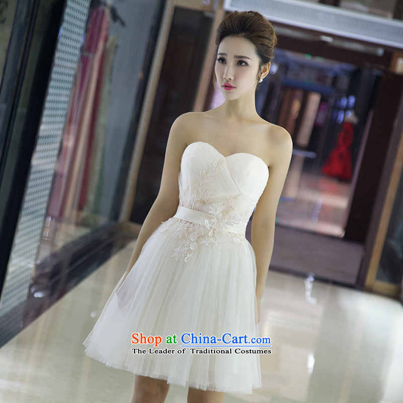 The spring and summer of 2015 New hannizi, stylish and chest upscale Sau San short) bows service banquet bride dress White?M