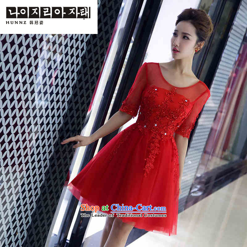 The spring and summer of 2015 New hannizi) short of dresses wedding package booking wedding dress stylish shoulder bridal dresses banquet red XL