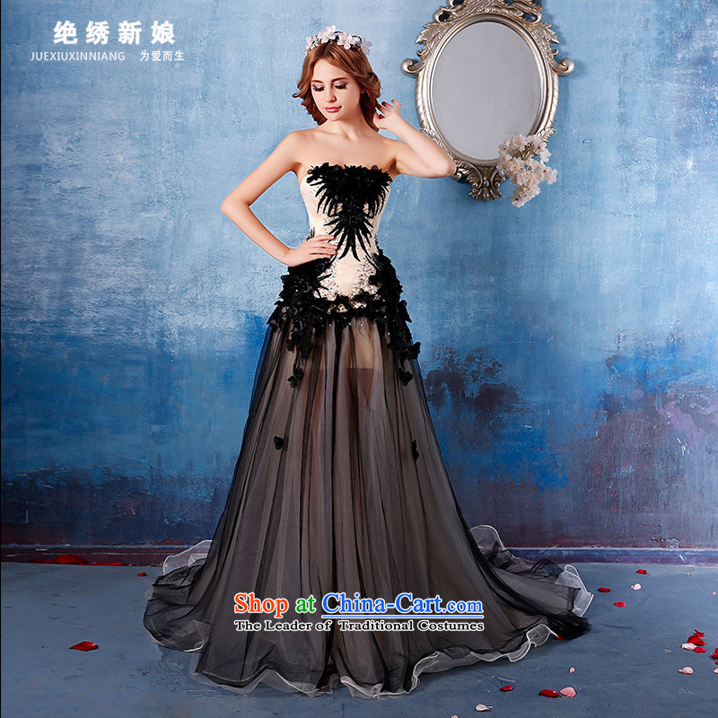 Summer 2015 new anointed chest code graphics thin bride banquet tail evening dresses long will black�M�Suzhou Shipment