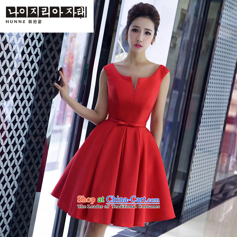 The spring and summer of 2015 Korea hannizi version of trendy new dresses red bows to Sau San banquet bride dress red?L