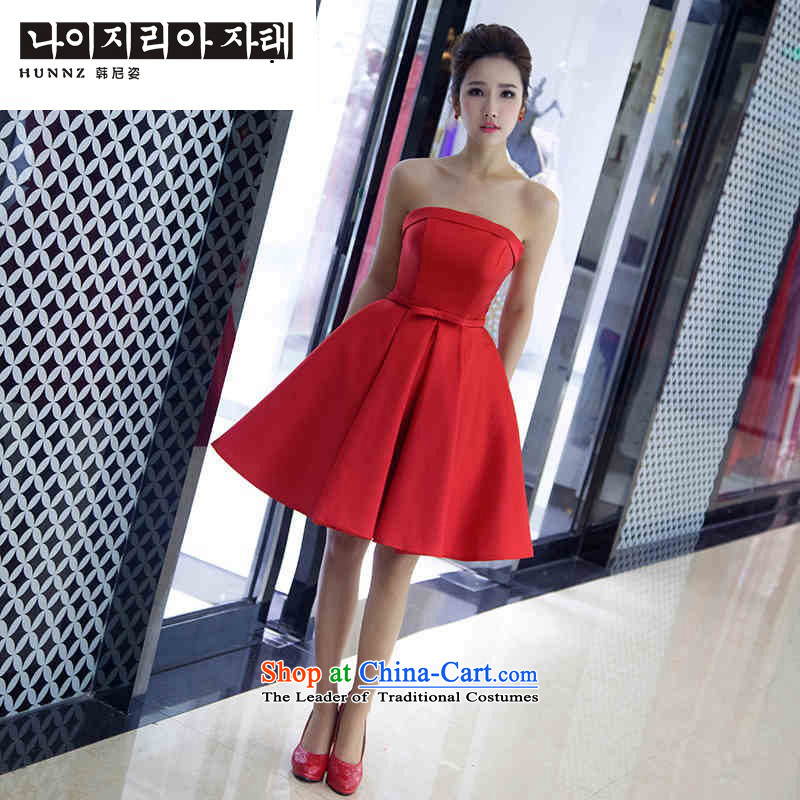 2015 Spring/Summer stylish hannizi Red Dress Short of breast tissue Sau San dresses upscale banqueting bridal dresses red�L