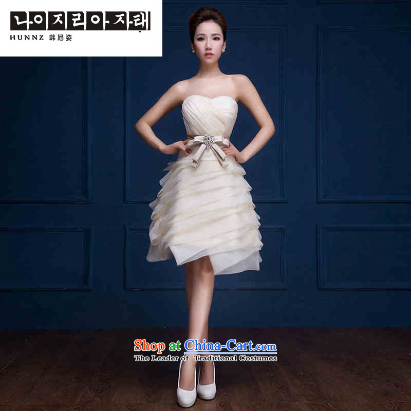 2015 new toasting champagne hannizi spring and summer, champagne color and chest small banquet dress bride toasting champagne dress uniform champagne colorXXL