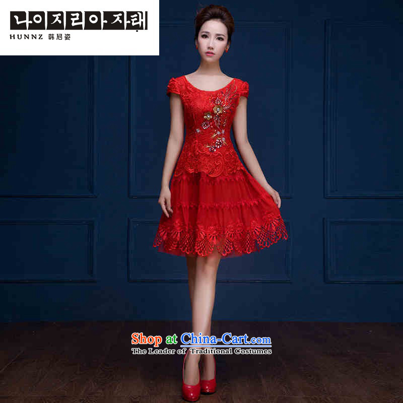 The new 2015 hannizi Korean Sau San shoulders the spring and summer bows to the skirt banquet bride dress red red?L