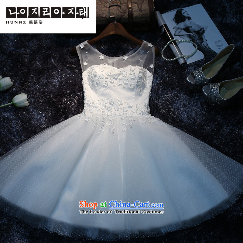 The new 2015 hannizi spring and summer Korean fashion show Dress Short of sister bridal services banquet dress white bows?XXL