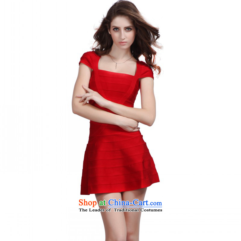 China flag Avandia, sweet scent of small wind bride services red short dresses bows Sau San video thin bon bon dresses red?L