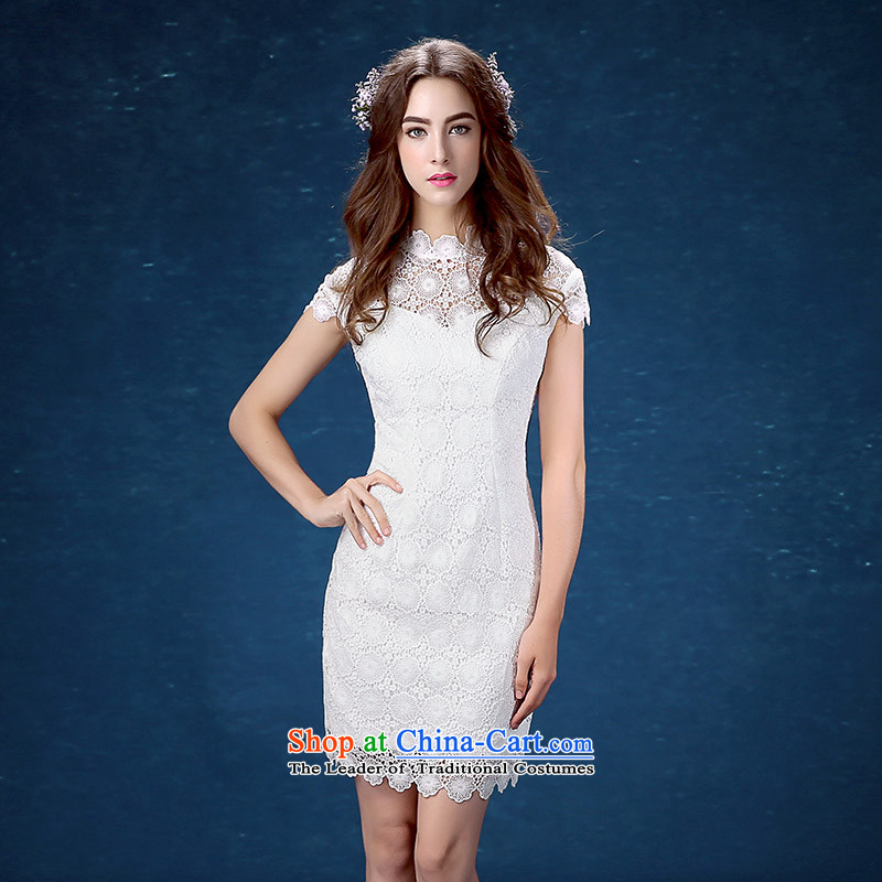 The new summer 2015 White retro Sau San video thin lace short dinners dress cheongsam dress girl?S
