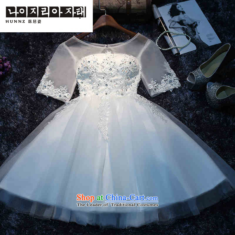 The new 2015 hannizi spring and summer wedding won the betrothal of small stylish dresses short video thin dress Sau San white?L