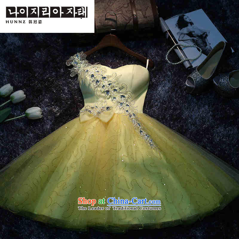 The new 2015 hannizi spring and summer Korean word stylish shoulder straps shoulders to align the Sau San bride wedding yellow?S