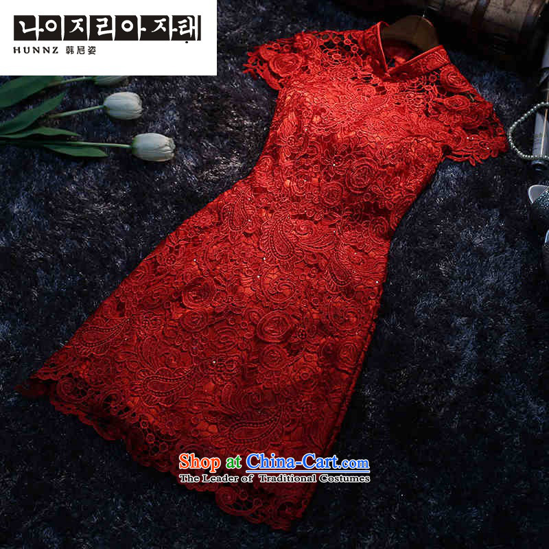 Chinese New Year 2015 hannizi short, stylish qipao back door   replacing bride bows service banquet dress red?XL