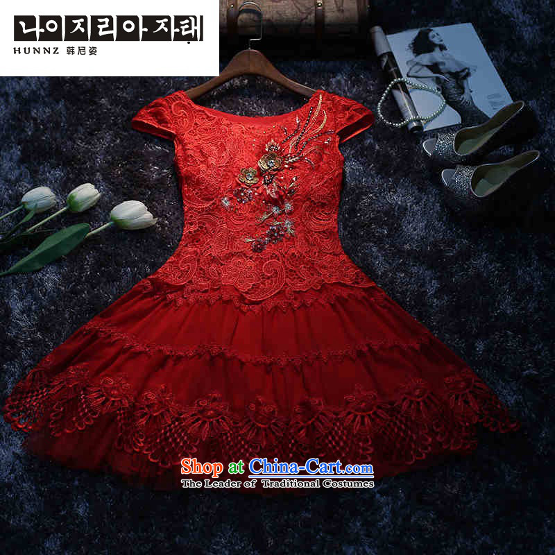 The spring and summer of 2015, Sau San hannizi video thin package shoulder the new bride dress bows services lace performances dress banquet Red Red聽M
