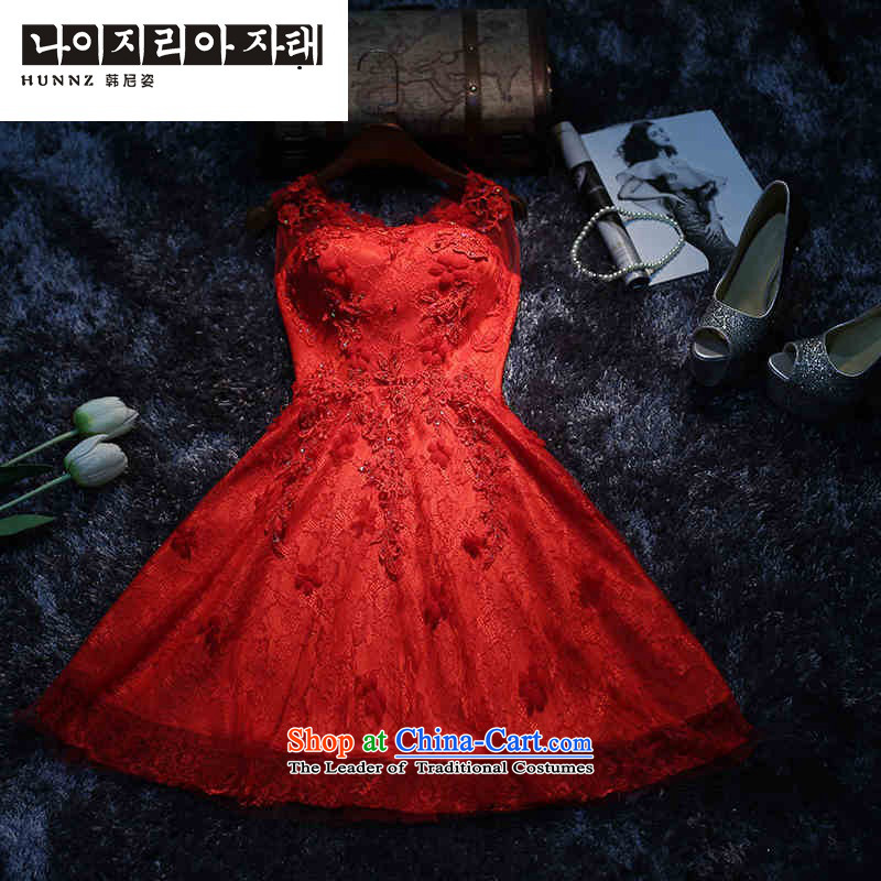 The new 2015 hannizi red stylish Sau San video thin Chinese banquet bridal dresses moderator bows services red?XL