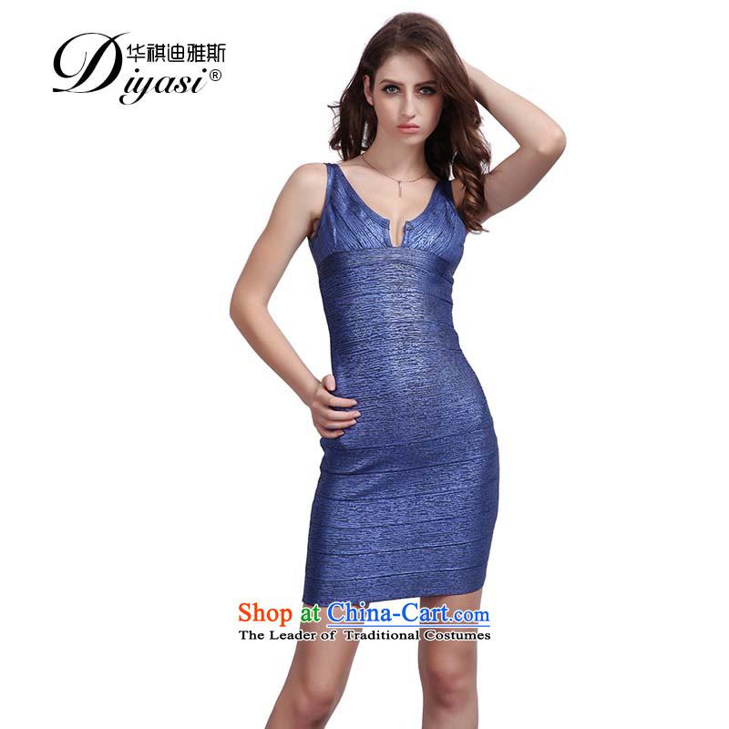 2015 new hot drink service of red sense package and bandages Sau San V upscale goddess dress dresses blue-violet�XS