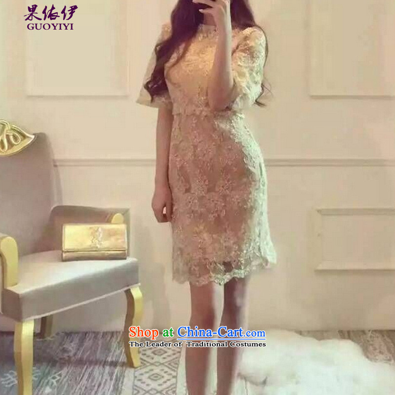 In accordance with the results of the?2015 autumn of the new gold embroidery aristocratic banquet dress both kit and sexy fluoroscopy lace dresses 1329 Gold?S