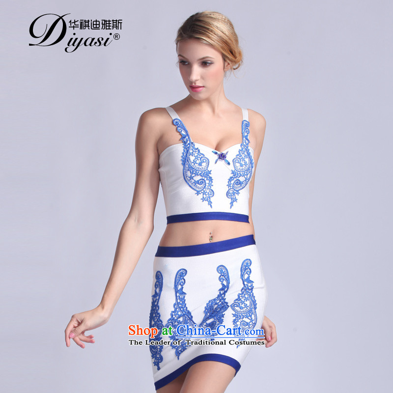 The original 2015 Spring/Summer new ethnic dress in shape and sexy package and bandages two kits dress dresses white�XXSTOXL)