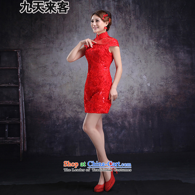 9 day visitors red bride qipao marriage bows services spend short of retro embroidery qipao and improved noble 6,613 filed claims for red?side 1 to 2 L waist