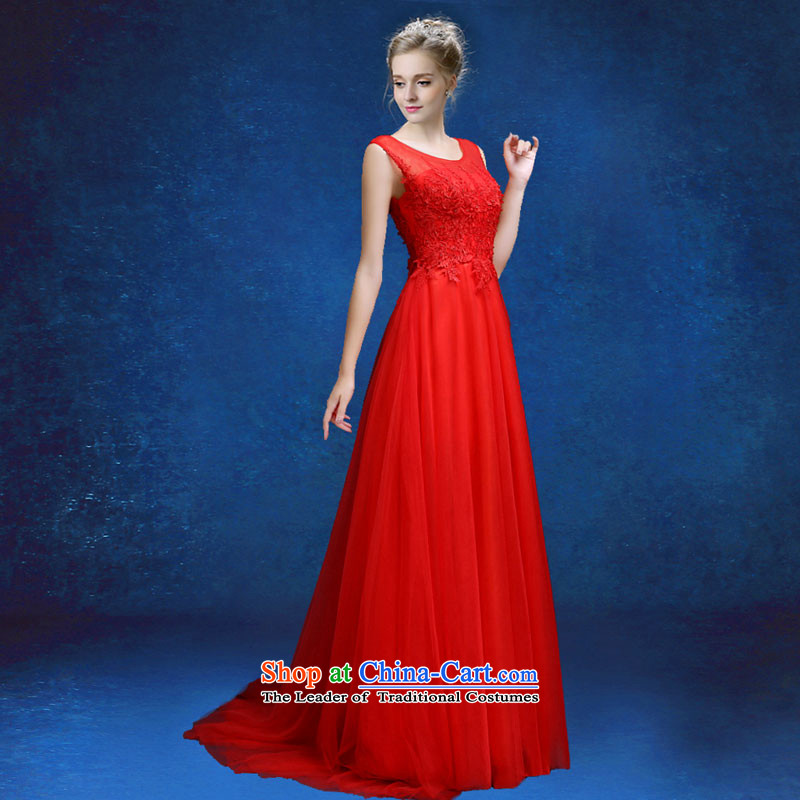 Each high toasting champagne red uniform Connie dark green dress light blue moderator dress?2015 new graphics thin dress large red?M