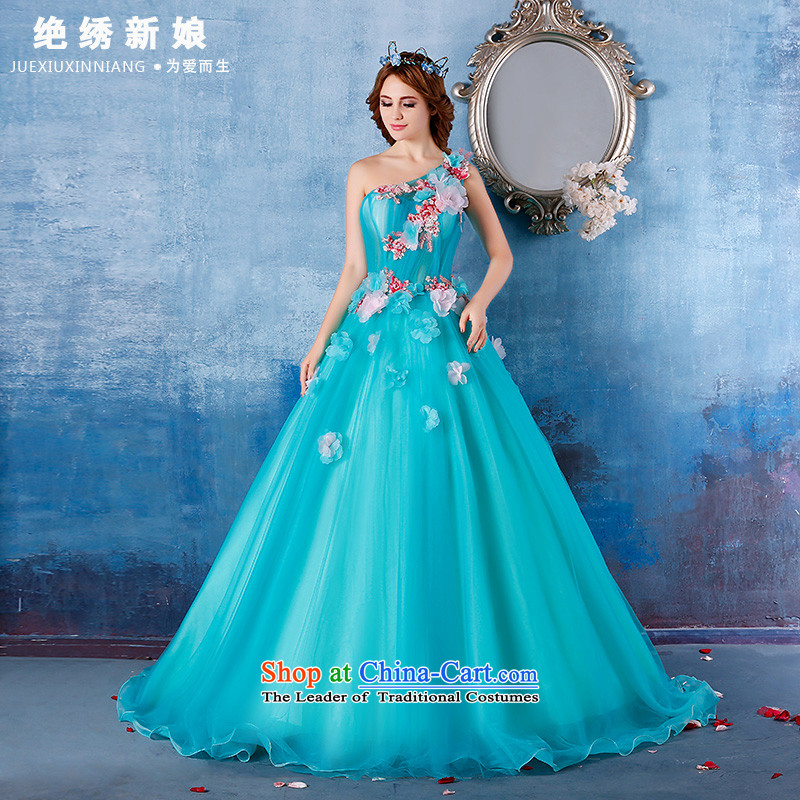 2015 new summer stylish single shoulder length floor, large will video thin bride banquet evening dresses skyblue?L?Suzhou Shipment